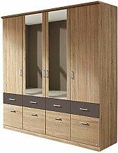 Kleiderschrank grau/weiß 4 Türen B 181 cm Eiche