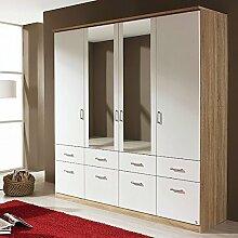 Kleiderschrank grau / weiß 4 Türen B 181 cm