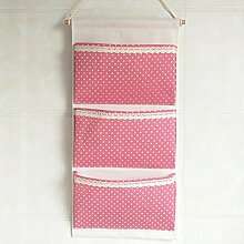 Kleiderschrank Hängende Aufbewahrungstasche Mehrschichtige Baumwolle und Hanf Tuch Kategorie Lagerung 30 * 64 cm Blau Weiß Rosa Grün , plane three pocket [30*64cm] , pink white do