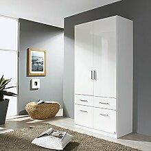 Kleiderschrank hochglanz weiß 2 Türen B 91 cm Schrank Drehtürenschrank Kinderzimmer Jugendzimmer Kinderzimmerschrank Schlafzimmer