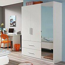 Kleiderschrank Hochglanz weiß 3 Türen B 136 cm Schrank Drehtürenschrank Wäscheschrank Kinderzimmer Jugendzimmer Kinderzimmerschrank