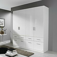 Kleiderschrank Hochglanz weiß 4 Türen B 181 cm Schrank Drehtürenschrank Kinderzimmer Jugendzimmer Kinderzimmerschrank