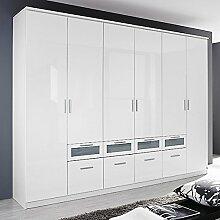 Kleiderschrank Hochglanz weiß 6 Türen B 271 cm Schrank Drehtürenschrank Wäscheschrank Kinderzimmer Jugendzimmer