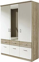 Kleiderschrank Joris weiß/grau 3 Türen B 136 cm