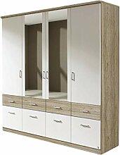 Kleiderschrank Joris weiß/grau 4 Türen B 181 cm