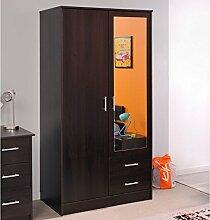 Kleiderschrank Kaffeebraun 2 Türen B 90 cm Drehtürenschrank Spiegelschrank Wäscheschrank Kinderzimmer Jugendzimmer Schrank Schlafzimmer