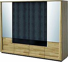 Kleiderschrank mit 6 Schubladen, Farbe: Eiche / Schwarz 196x242x63 cm