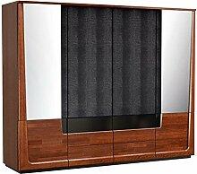 Kleiderschrank mit 6 Schubladen, Farbe: Nuss 196x242x63 cm