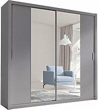 Kleiderschrank mit Spiegel Geodi, Elegante und Modernes Schwebetürenschrank, Schiebetür, Schlafzimmerschrank, Schlafzimmer, Jugendzimmer (220 cm, Grau)