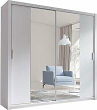 Kleiderschrank mit Spiegel Geodi, Elegante und Modernes Schwebetürenschrank, Schiebetür, Schlafzimmerschrank, Schlafzimmer, Jugendzimmer (220 cm, Weiß)