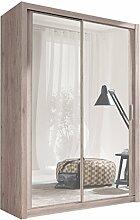 Kleiderschrank mit Spiegel Geodi, Elegante und Modernes Schwebetürenschrank, Schiebetür, Schlafzimmerschrank, Schlafzimmer, Jugendzimmer (150 cm, San Remo)