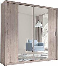 Kleiderschrank mit Spiegel Geodi, Elegante und Modernes Schwebetürenschrank, Schiebetür, Schlafzimmerschrank, Schlafzimmer, Jugendzimmer (200 cm, San Remo)