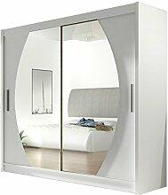 Kleiderschrank mit Spiegel London IV, Schwebetürenschrank, Schiebetürenschrank, Modernes Schlafzimmerschrank 180x215x57cm, Schlafzimmer, Garderobe (Weiß)