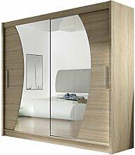 Kleiderschrank mit Spiegel London IX, Schwebetürenschrank, Schiebetürenschrank, Modernes Schlafzimmerschrank 180x215x57cm, Garderobe, Schlafzimmer (Sonoma)