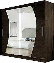 Kleiderschrank mit Spiegel London IX, Schwebetürenschrank, Schiebetürenschrank, Modernes Schlafzimmerschrank 180x215x57cm, Garderobe, Schlafzimmer (Choco)