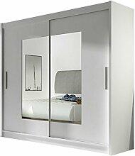 Kleiderschrank mit Spiegel London VII, Schwebetürenschrank, Schiebetürenschrank, Modernes Schlafzimmerschrank 180x215x57cm, Garderobe, Schlafzimmer (Weiß)