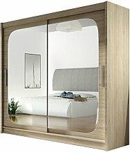 Kleiderschrank mit Spiegel London VIII, Schwebetürenschrank, Schiebetürenschrank, Modernes Schlafzimmerschrank 180x215x57cm, Garderobe, Schlafzimmer (Sonoma)