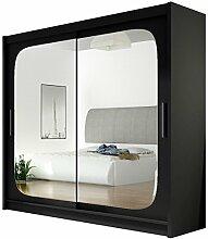 Kleiderschrank mit Spiegel London VIII, Schwebetürenschrank, Schiebetürenschrank, Modernes Schlafzimmerschrank 180x215x57cm, Garderobe, Schlafzimmer (Schwarz)