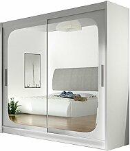 Kleiderschrank mit Spiegel London VIII, Schwebetürenschrank, Schiebetürenschrank, Modernes Schlafzimmerschrank 180x215x57cm, Garderobe, Schlafzimmer (Weiß)