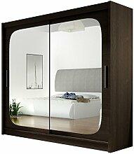 Kleiderschrank mit Spiegel London VIII, Schwebetürenschrank, Schiebetürenschrank, Modernes Schlafzimmerschrank 180x215x57cm, Garderobe, Schlafzimmer (Choco)