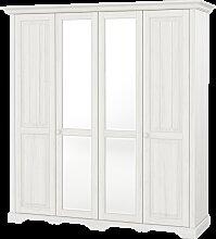 Kleiderschrank mit Spiegel Pisa Landhaus 4 türig