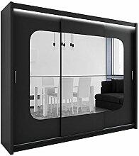 Kleiderschrank mit Spiegel und LED-Beleuchtung Barcelona, Modernes Schwebetürenschrank, 250 x 215 x 61 cm, Schiebetür, Schlafzimmerschrank, Schlafzimmer (Schwarz)
