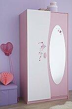 Kleiderschrank rosa / weiß 2 Türen B 94 cm Schrank Drehtürenschrank Kinderzimmer Jugendzimmer Prinzessin Mädchen Wäscheschrank