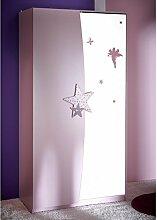 Kleiderschrank Sternchen lila weiß 2 Türen Schrank Drehtürenschrank Kinderzimmer Jugendzimmer Mädchenschrank MDF