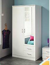 Kleiderschrank weiß 2 Türen + 2 Schubladen B 90 Schrank Drehtürenschrank Wäscheschrank Spiegelschrank Kinderzimmer Jugendzimmer Schlafzimmer