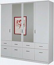 Kleiderschrank weiß 4 Türen B 181 cm Schrank Drehtürenschrank Wäscheschrank Kinderzimmer Jugendzimmer Kinderzimmerschrank