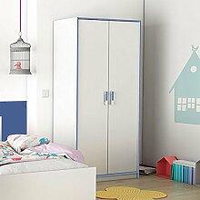 Kleiderschrank weiß / blau 2 Türen B 88 cm Schrank Drehtürenschrank Wäscheschrank Mädchen Kinderzimmer Jugendzimmer