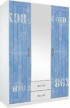 Kleiderschrank weiß blau 3 Türen B 136 Schrank Drehtürenschrank Wäscheschrank Spiegelschrank Kinderzimmer Jugendzimmer Schlafzimmer