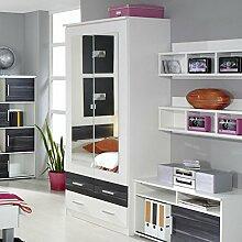 Kleiderschrank weiß / grau 2 Türen B 91 cm