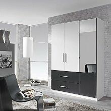 Kleiderschrank weiß / grau 3 Türen B 136 cm Schrank Drehtürenschrank Spiegelschrank Wäscheschrank Jugendzimmer Schlafzimmer