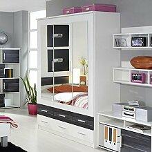 Kleiderschrank weiß grau 3 Türen B 136 cm
