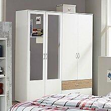 Kleiderschrank weiß / grau 4 Türen B 168 cm Schrank Drehtürenschrank Wäscheschrank Kinderzimmer Jugendzimmer Schlafzimmer