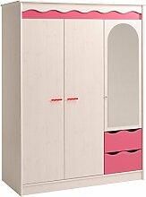 Kleiderschrank weiß / pink 3 Türen B 136 cm Schrank Drehtürenschrank Wäscheschrank Spiegelschrank Kinderzimmer Jugendzimmer