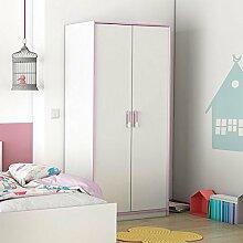 Kleiderschrank weiß / rosa 2 Türen B 88 cm Schrank Drehtürenschrank Wäscheschrank Mädchen Kinderzimmer Jugendzimmer
