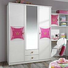 Kleiderschrank weiß / rosa 3 Türen B 136 cm Mädchen Prinzessin Kinderzimmer Jugendzimmer Schrank Drehtürenschrank Spiegelschrank