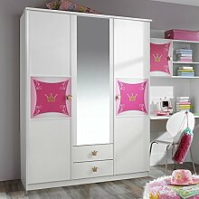 Kleiderschrank weiß / rosa 3 Türen B 136 cm Schrank Drehtürenschrank Spiegelschrank Mädchen Prinzessin Kinderzimmer Jugendzimmer