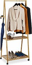 Kleiderständer auf Rollen, 2 Ablagen, 4 Haken,