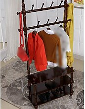 Kleiderständer / Boden Kleiderbügel / hängende Kleiderständer / Europäische Massivholz Kleiderbügel / Schlafzimmer Wohnzimmer Doppelboden Platte mehrschichtige beige drei ( Farbe : Nussbaum )
