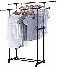 Kleiderständer mit Kleiderstangen und Rädern