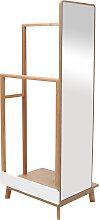 Kleiderständer mit Spiegel Helles Holz und Weiß