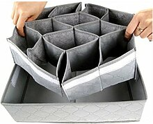 Kleidung Aufbewahrungsbehaelter - TOOGOO (R) 30 Slots Bambuskohle Aufbewahrungsbehaelter Schrank Fach Wandschrank Socken Krawatten Organizer Grau