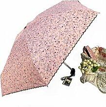 Klein Halb Aus Kleine Blumen Vinyl Sonnig Regnerisch Gestärkt Sonnenschutz Sonnenschirm Sonnenschirm Regenschirm,Pink
