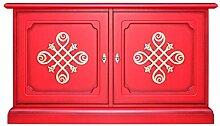 Kleine Anrichte Möbel TV in Rotfarbe, Kleiner Schrank TV mit 2 Türen und 2 Schubladen B106xH60xT40 cm NEU Schon montiert aus Italien, Rotfarbe + Goldekor, starke Struktur aus Holz