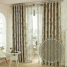 kleine florale Vorhang/Wohnzimmer Schlafzimmer Fenster Erker/Sonne Vorhänge-B 150x270cm(59x106inch)