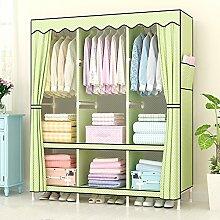 Kleine frische frische Garderobe / Tuch Kleiderschrank / Stoff Montage Kombination aus Massivholz Kleiderschrank / Holz erwachsenen großen Doppel-Kleiderschrank ( stil : 3 )