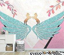 Kleine frische rosa Flügelgeometrie Wandsticker